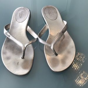 Gucci flip flop gold silver woman's size39.5